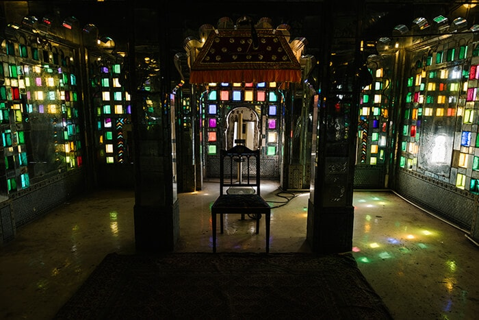 Color gels over lights or stained glass windows