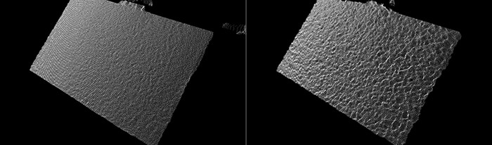 Comparisons of the Point Cloud of a well calibrated camera (LEFT) with a degraded camera (RIGHT) for a flat textured wall. The lower bumpiness on the left is preferred.