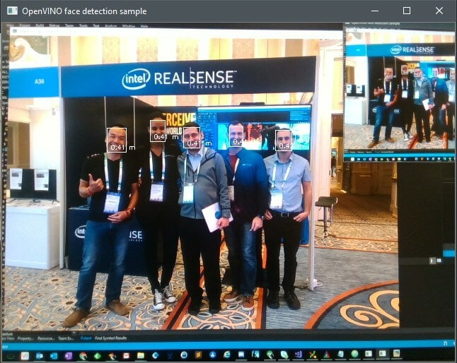 Faces being detected by the Intel® RealSense Viewer with OpenVINO