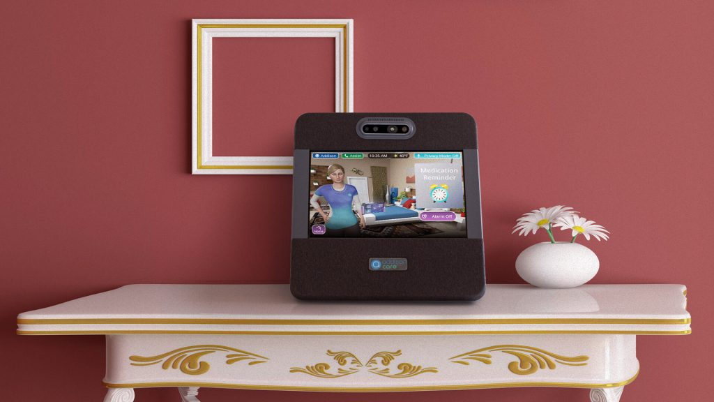 Addison Care™ in the home. The Intel RealSense Depth Camera D435 can be seen near the top of the device in the center.