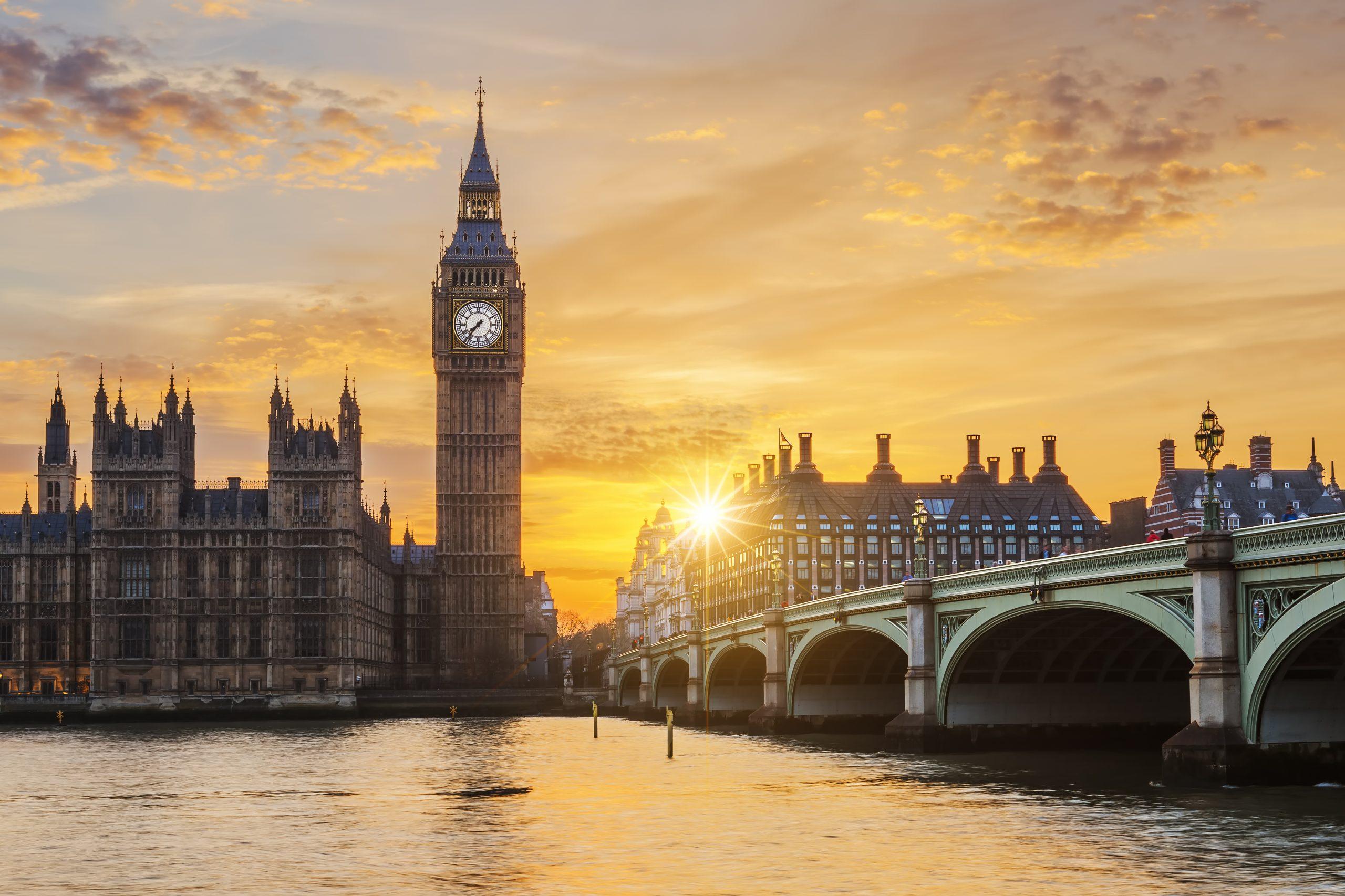 Big Ben and Westminster Bridge at sunset