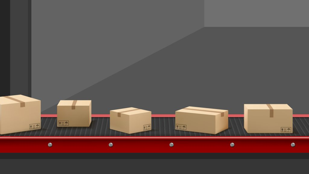 Illustration showing boxes on a conveyor belt