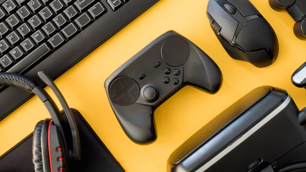 Gaming peripherals on a yellow background