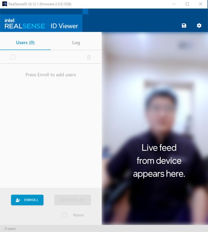 Intel RealSense ID Viewer main screen