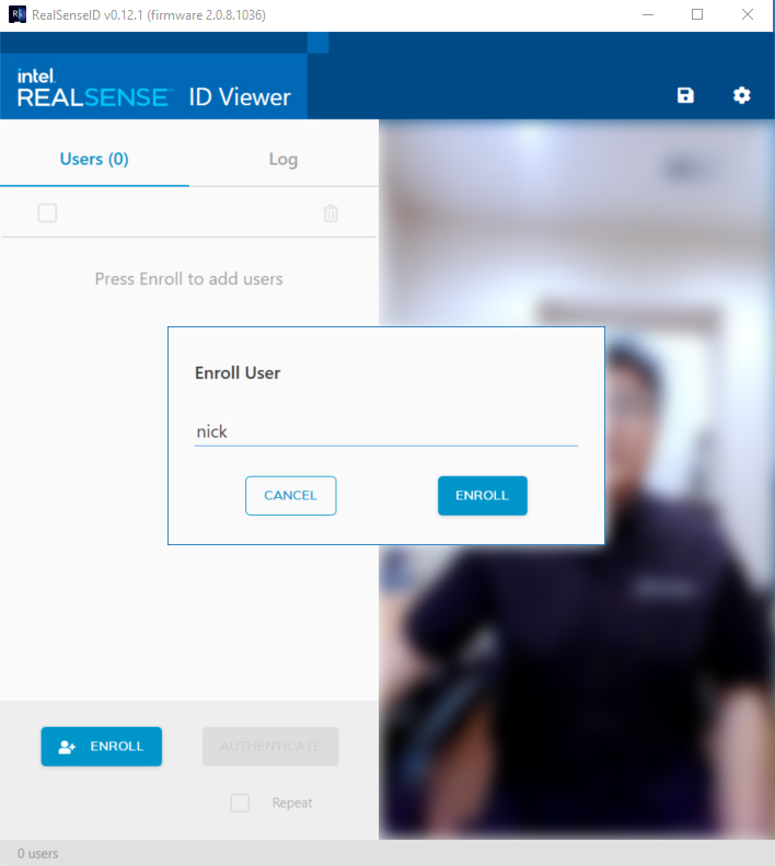 Enroll with Intel RealSense ID Viewer