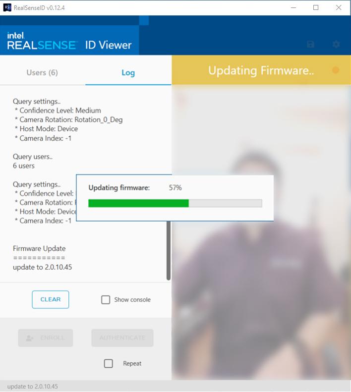 UI showing updating firmware progress