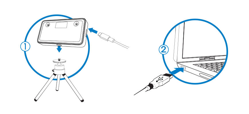 Illustration showing the F455 camera being connected to a laptop with USB C cable