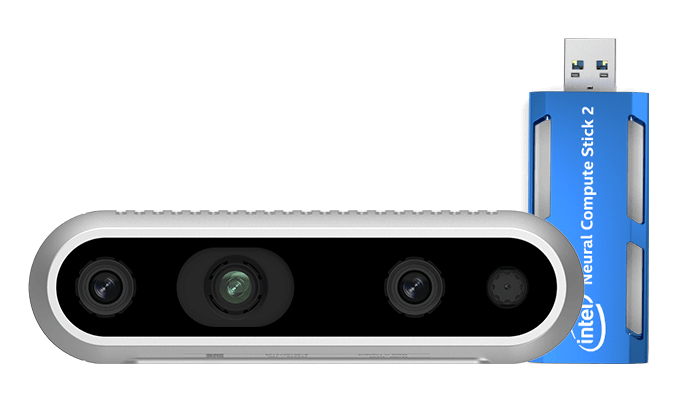 Depth camera and Neural Compute Stick 2 by Intel